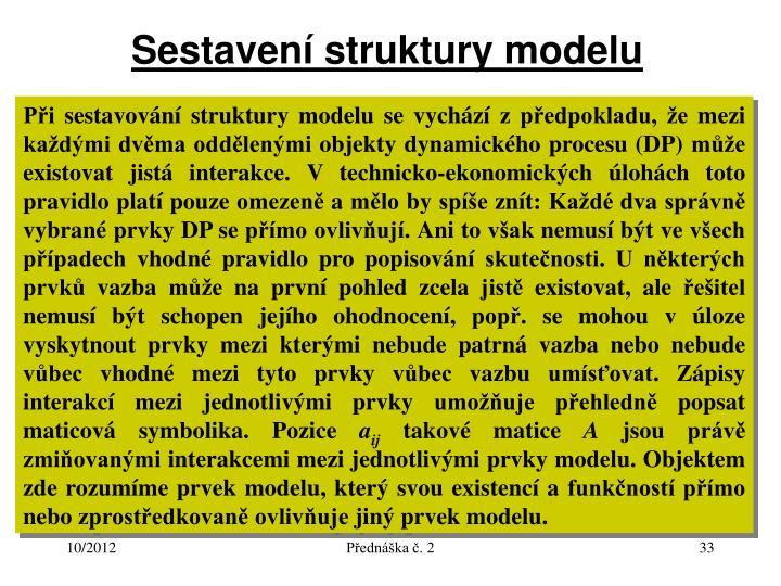 Sestavení struktury modelu