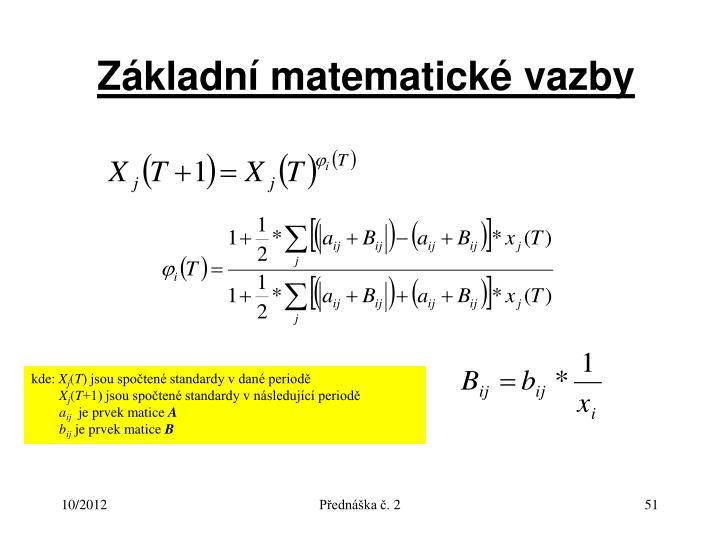 Základní matematické vazby