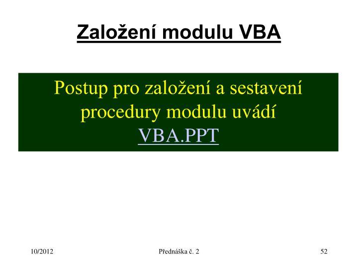Založení modulu VBA