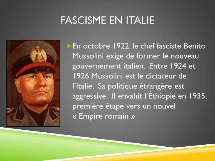 FASCISME EN ITALIE