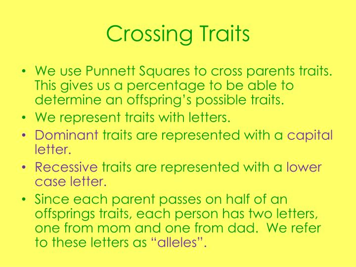 Crossing traits