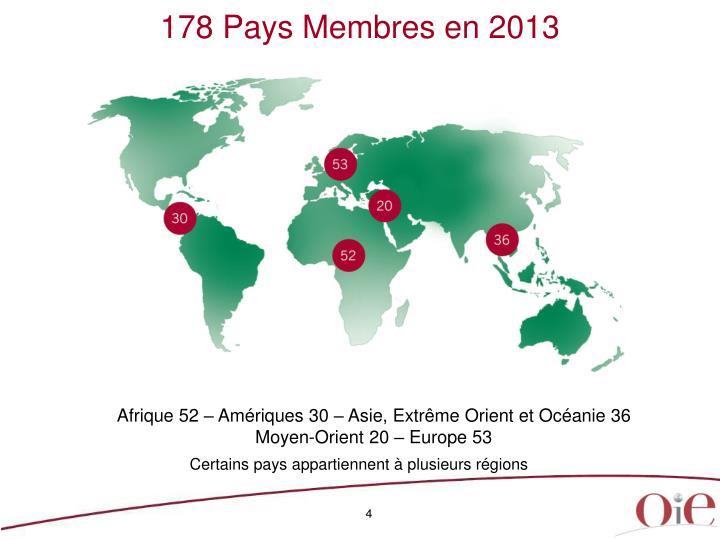 178 Pays Membres en 2013