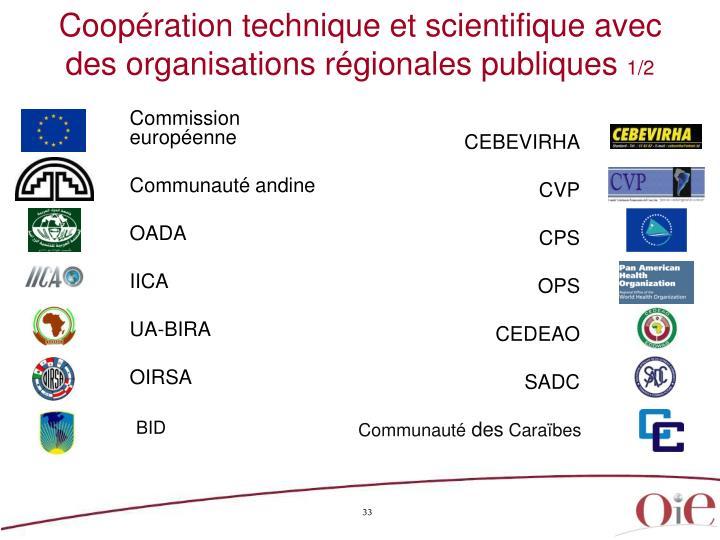 Coopération technique et scientifique avec des organisations régionales publiques