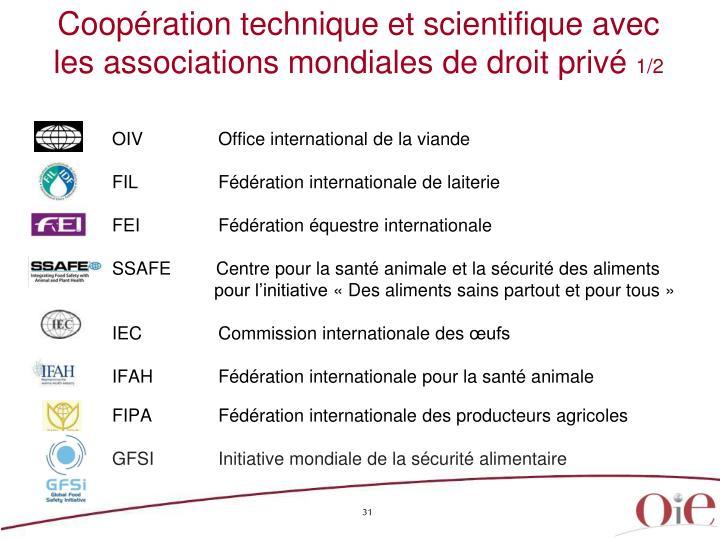 Coopération technique et scientifique avec les associations mondiales de droit privé