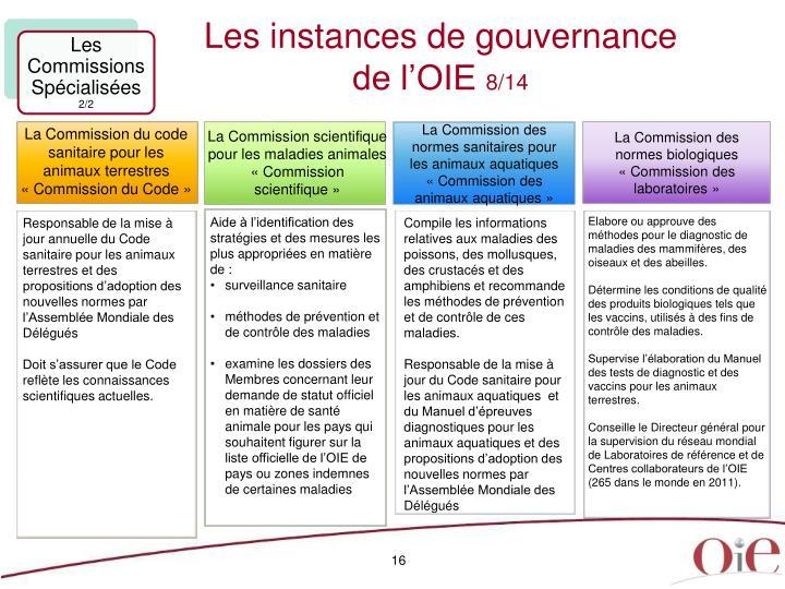 Les instances de gouvernance