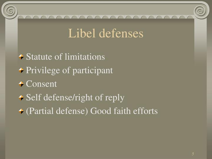 Libel defenses