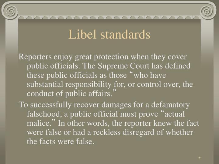 Libel standards