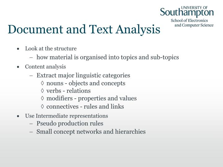 Document and Text Analysis