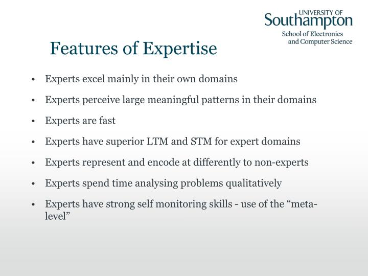 Features of Expertise