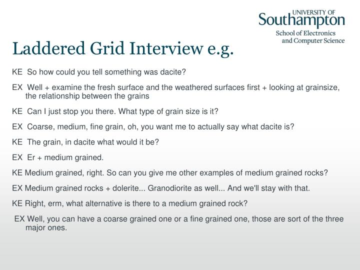 Laddered Grid Interview e.g.
