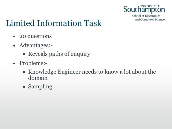 Limited Information Task
