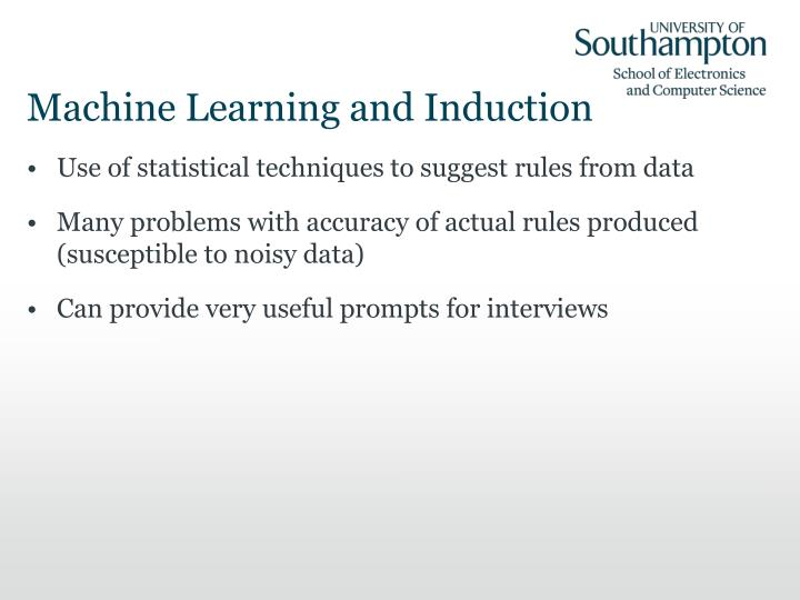 Machine Learning and Induction