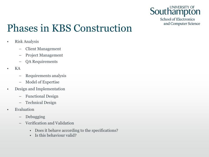 Phases in KBS Construction
