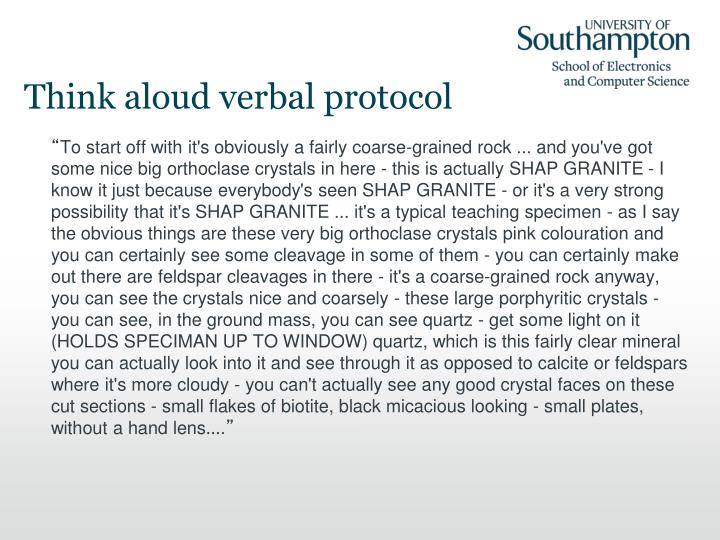 Think aloud verbal protocol
