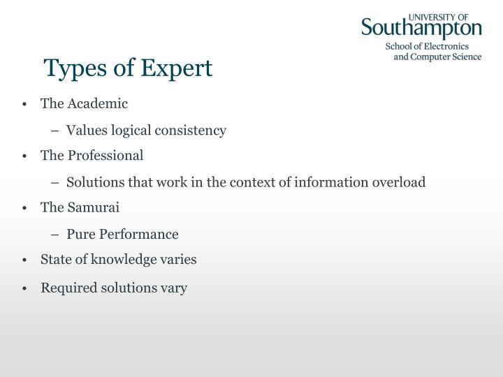 Types of Expert