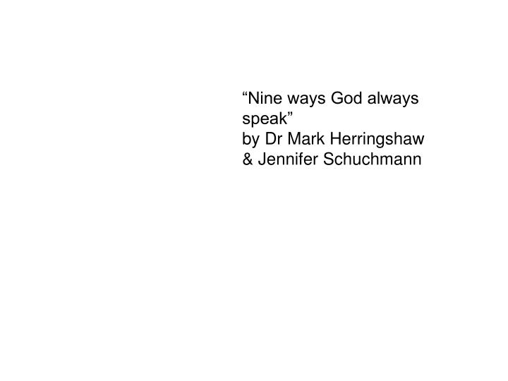 """Nine ways God always speak"""