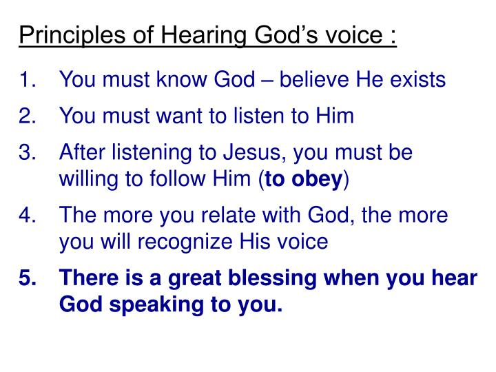Principles of Hearing God's voice :