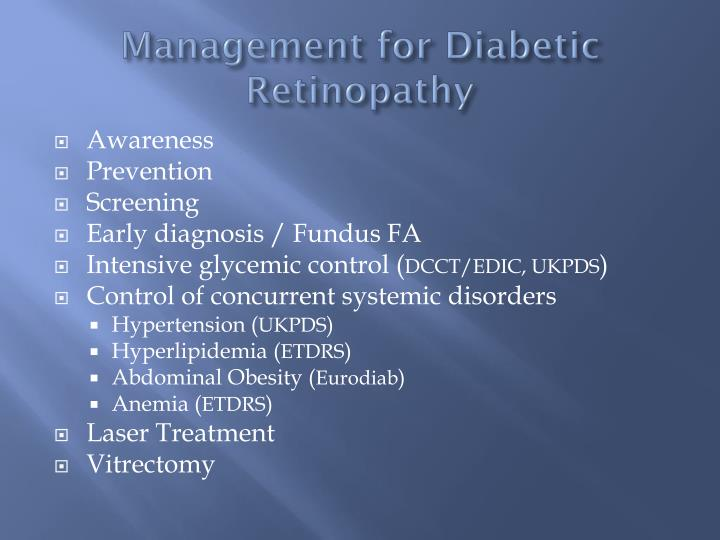 Management for Diabetic Retinopathy