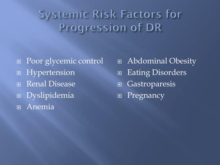 Systemic Risk Factors for Progression of DR