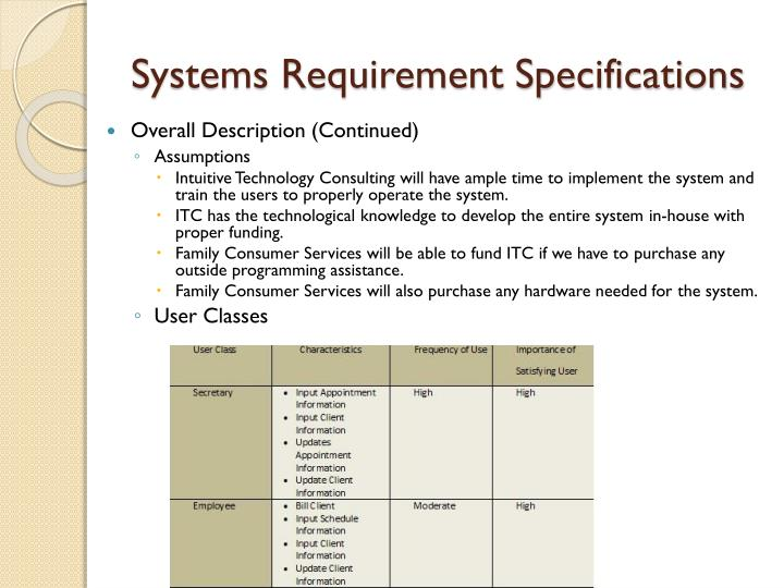 Systems Requirement Specifications