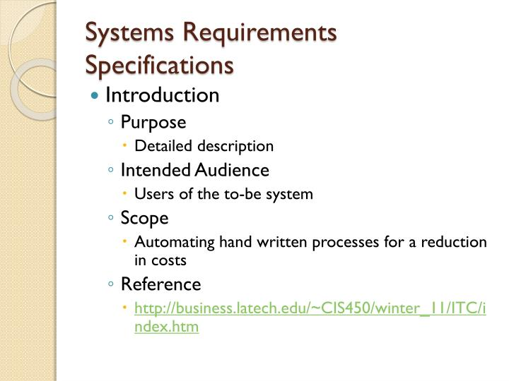 Systems Requirements Specifications