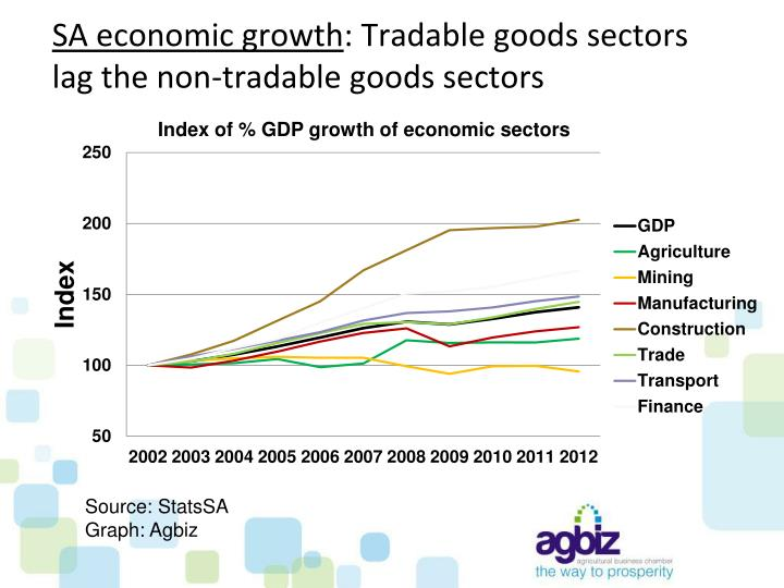Sa economic growth tradable goods sectors lag the non tradable goods sectors