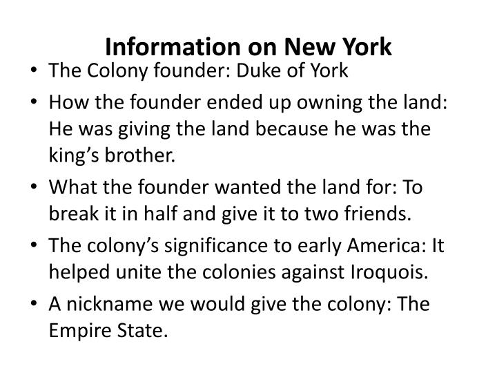 Information on New York