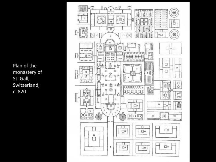 Plan of the monastery of St. Gall, Switzerland, c. 820