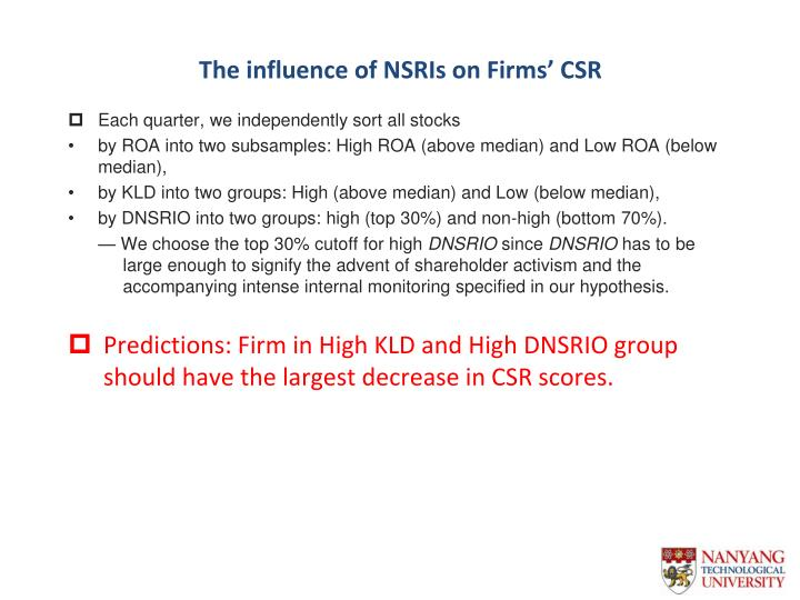 The influence of NSRIs on Firms' CSR