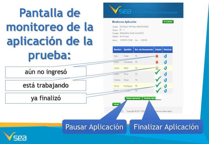 Pantalla de monitoreo de la aplicación de la prueba: