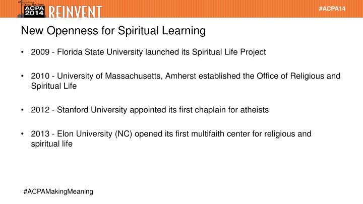New Openness for Spiritual Learning
