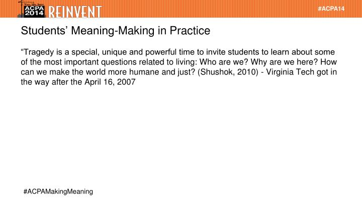Students' Meaning-Making in Practice