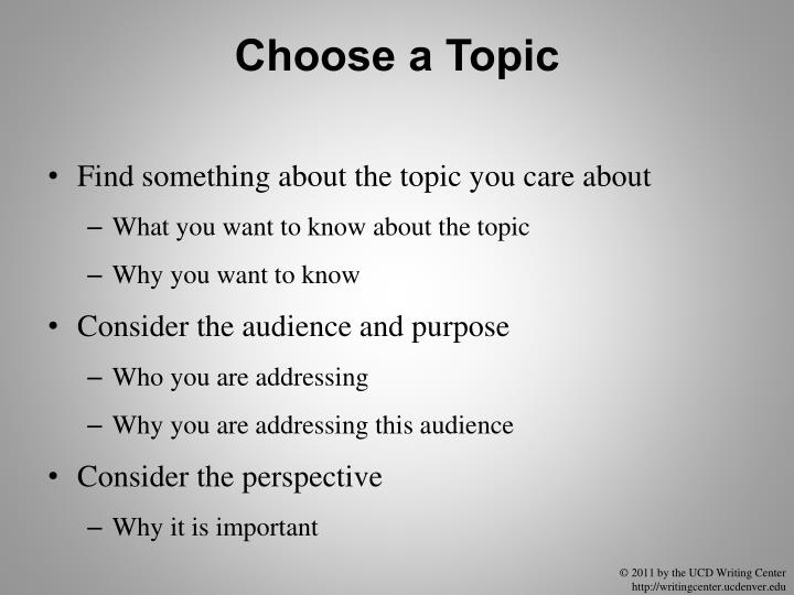 Choose a Topic