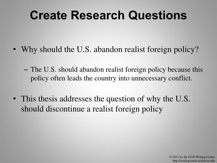 Create Research Questions