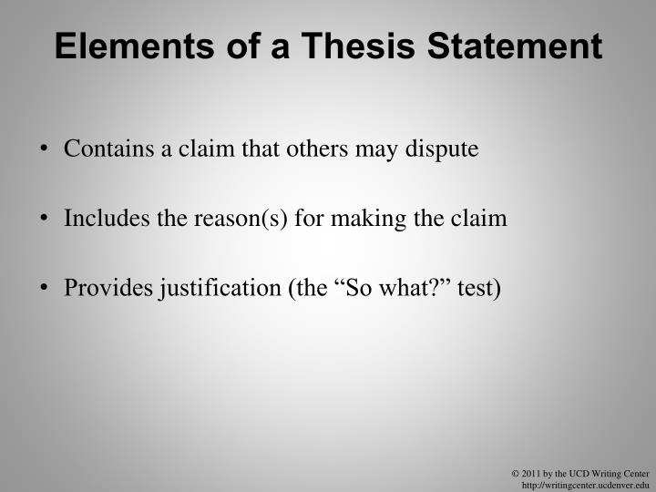 Elements of a Thesis Statement