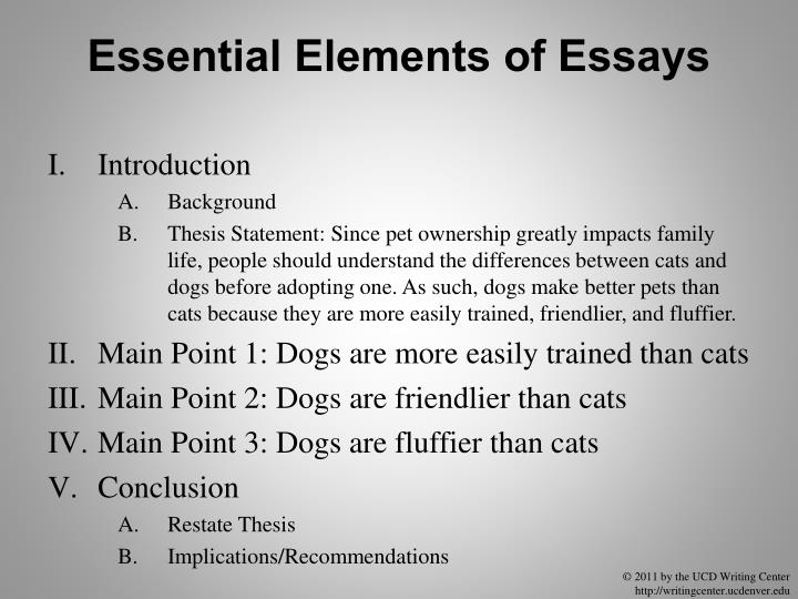 Essential Elements of Essays