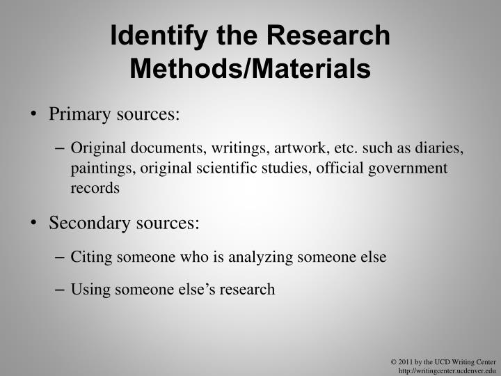 Identify the Research Methods/Materials