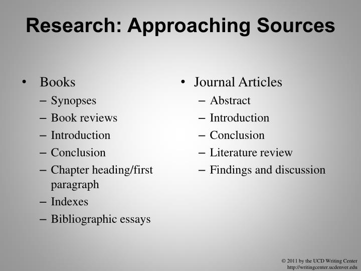 Research: Approaching Sources