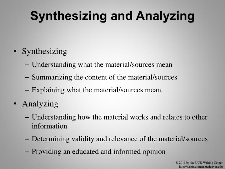 Synthesizing and Analyzing