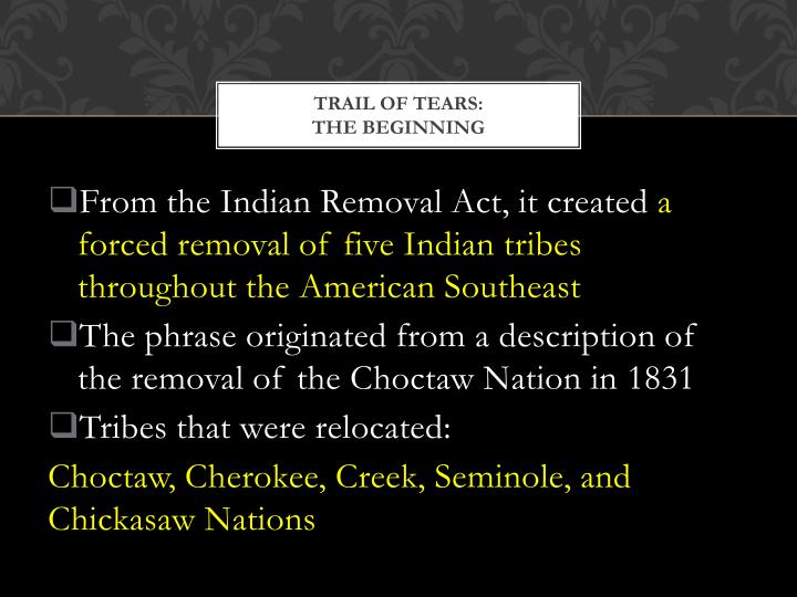 Trail of tears the beginning