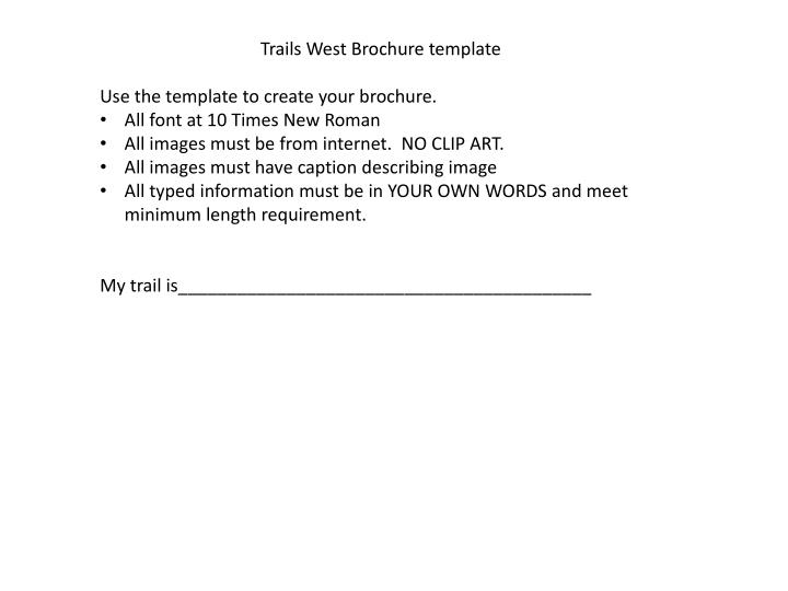 Trails West Brochure template
