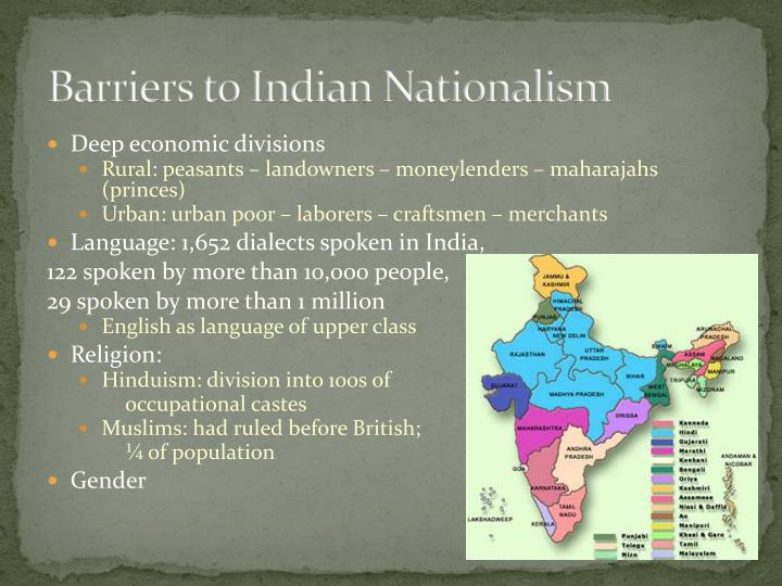 Barriers to indian nationalism
