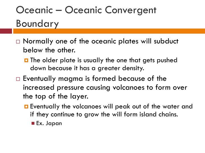 Oceanic – Oceanic Convergent Boundary