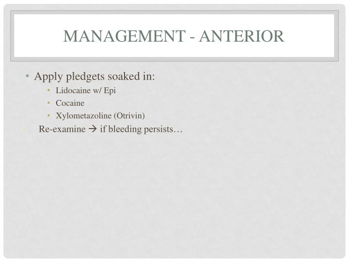 Management - Anterior