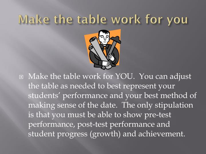 Make the table work for you