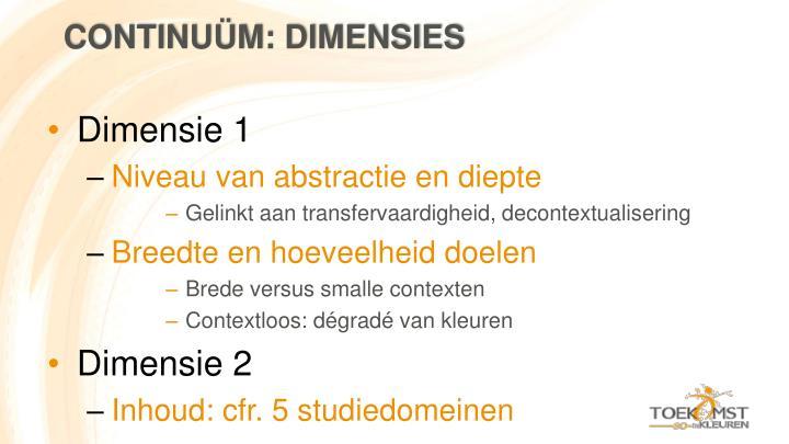 Continuüm: dimensies