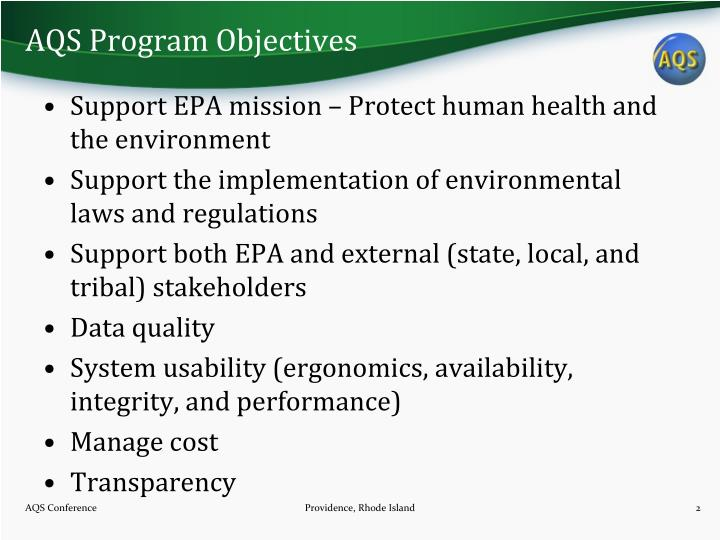 AQS Program Objectives