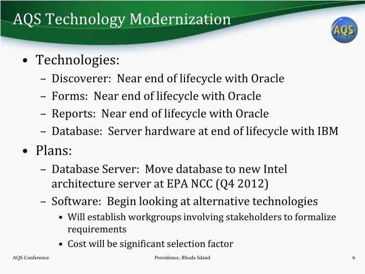 AQS Technology Modernization
