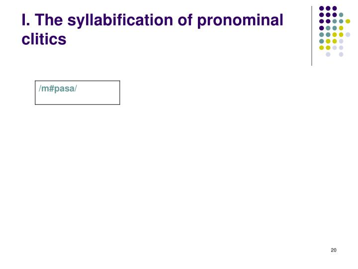 I. The syllabification of pronominal