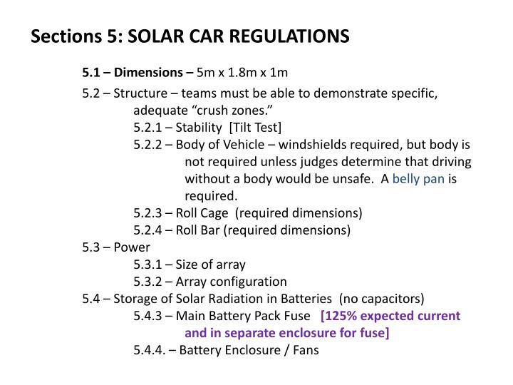 Sections 5: SOLAR CAR REGULATIONS